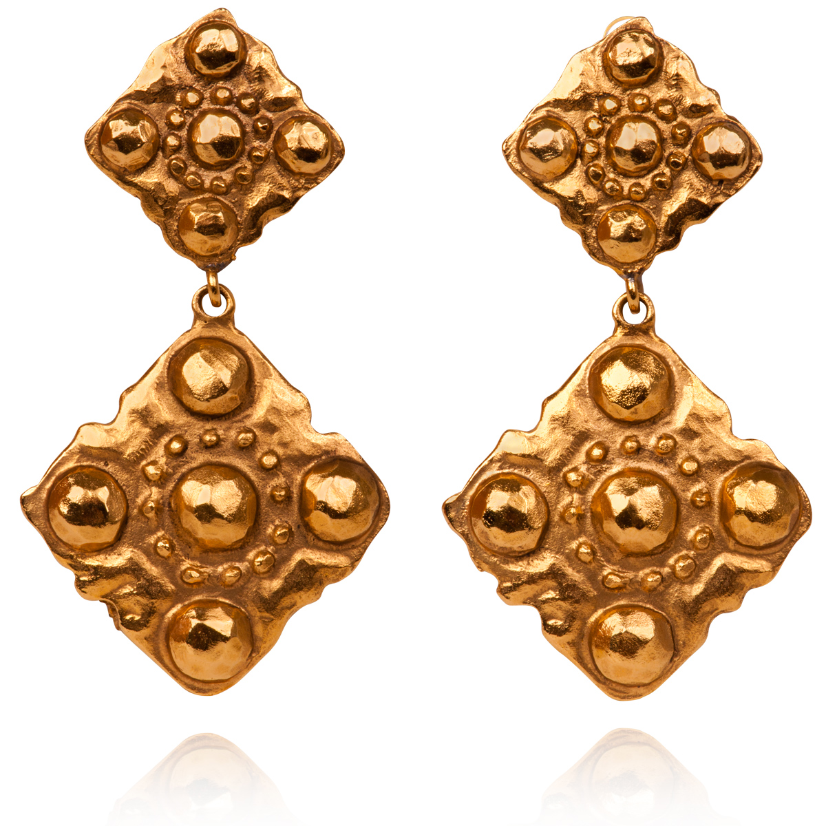 chanel seasons gold earrings clip vinatge rhombus treasure vintage